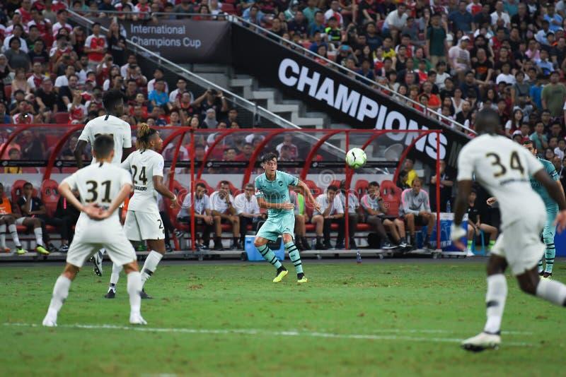 Kallang-Singapur 28 de julio de 2018: Jugador de Mesut Ozil 10 del arsenal adentro fotografía de archivo