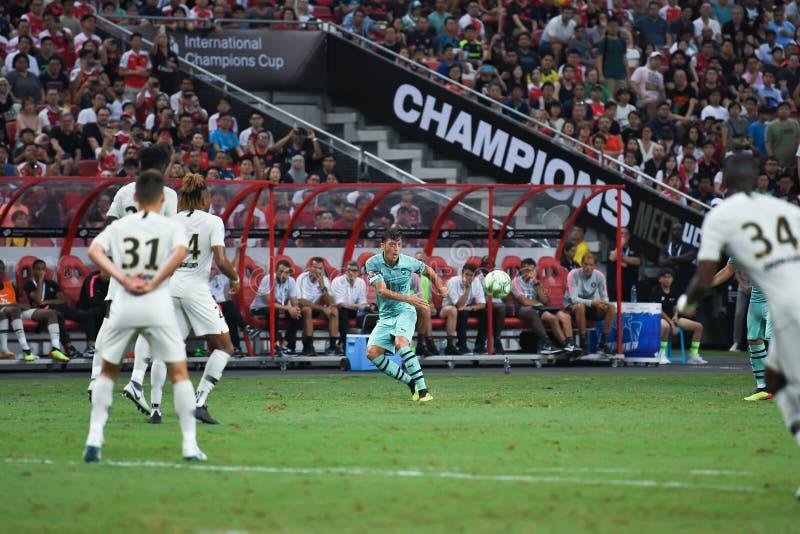 Kallang-Singapur 28 de julio de 2018: Jugador de Mesut Ozil 10 del arsenal adentro foto de archivo