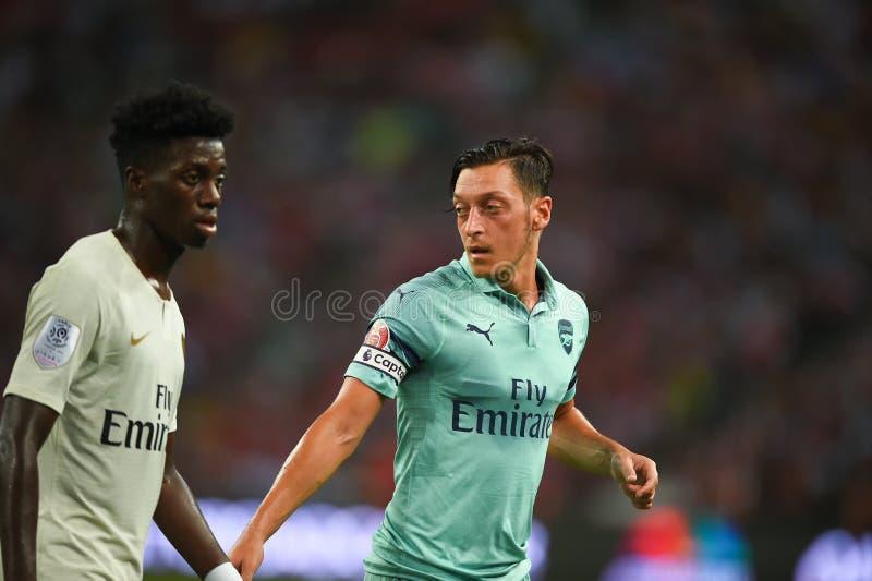 Kallang-Singapur 28 de julio de 2018: Jugador de Mesut Ozil 10 del arsenal adentro fotografía de archivo libre de regalías