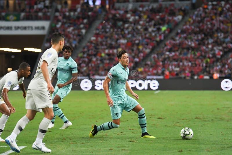 Kallang-Singapur 28 de julio de 2018: Jugador de Mesut Ozil 10 del arsenal adentro foto de archivo libre de regalías