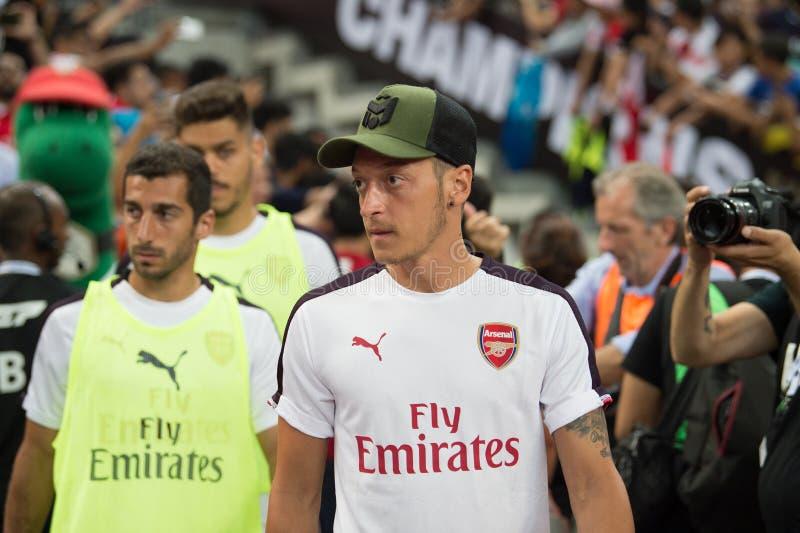 Kallang-Singapur 26. Juli 2018: Mesut-ozil 10 Spieler des Arsenals herein stockbild