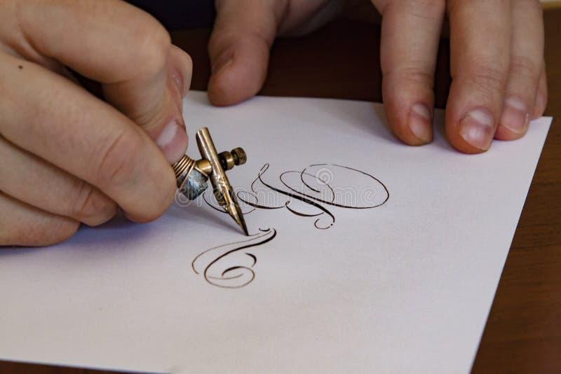 Kalligrafautograf fotografering för bildbyråer