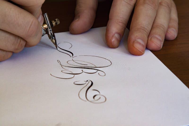 Kalligrafautograf arkivfoto