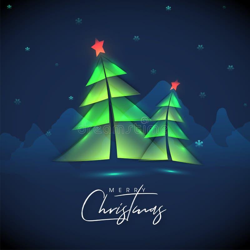 Kalligrafia Wesołych Świąt z papierowym cięciem Xmas tree and snowflakes royalty ilustracja