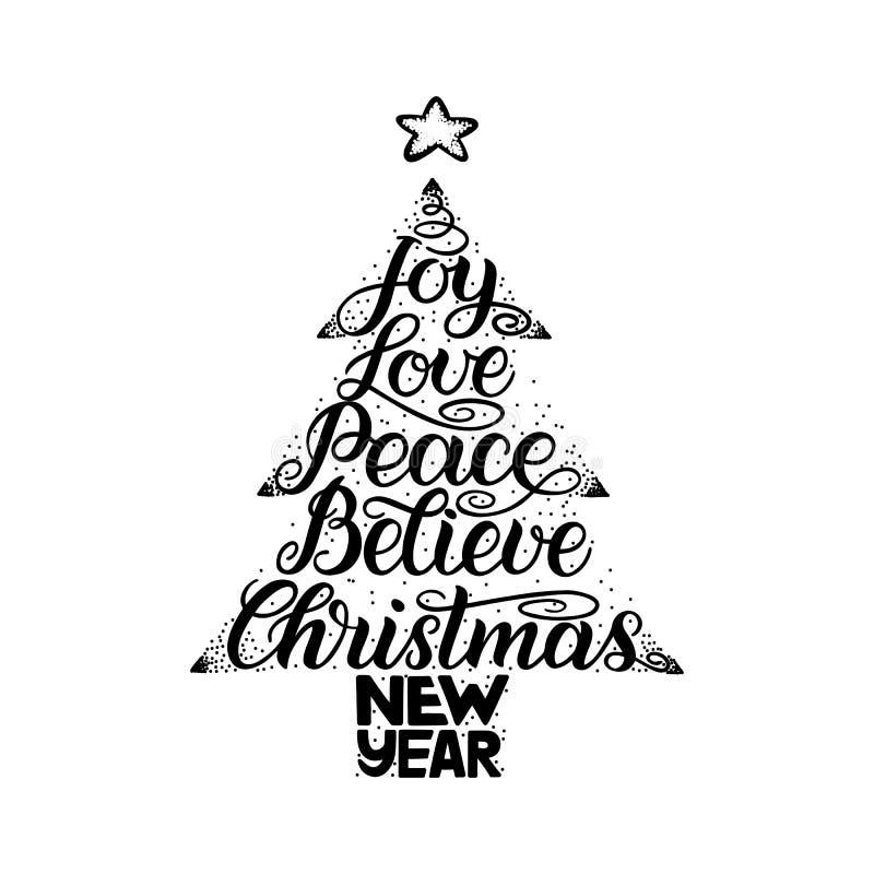 Kalligrafibokstäver i julgranform med stjärnan Det nya året jul, glädje, förälskelse, fred, tror stock illustrationer