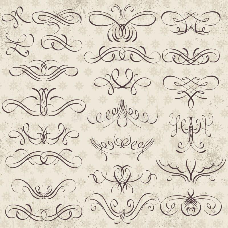 Kalligrafie decoratieve grenzen, sierregels, verdelers royalty-vrije illustratie