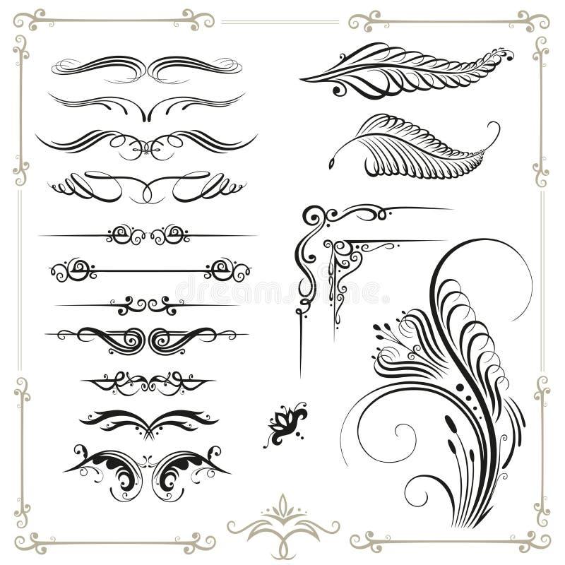Kalligrafie, grens stock illustratie
