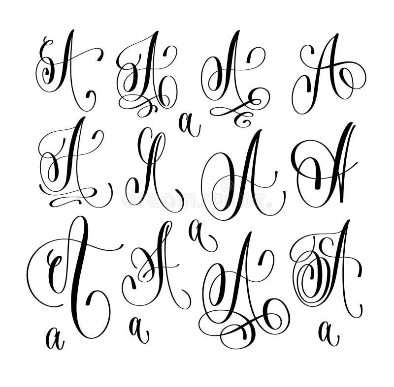 Kalligrafie het van letters voorzien de reeks van de manuscriptdoopvont A, hand geschreven handtekening stock illustratie