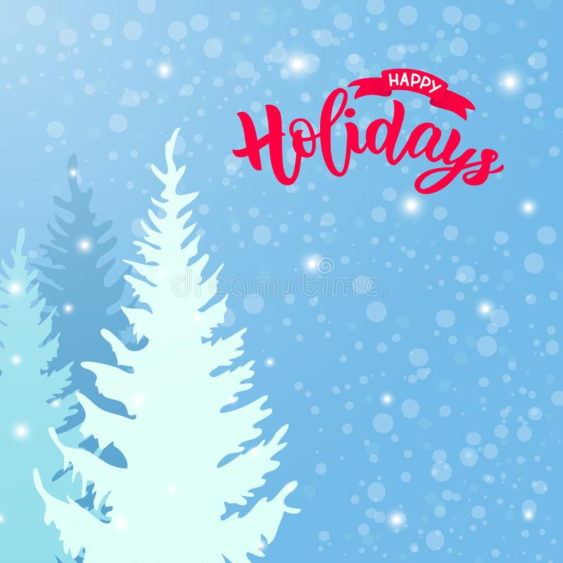 Kalligrafie moderne het van letters voorzien Gelukkige Vakantie met illustratie van de Winter sneeuwlandschap met pijnbomen versc stock illustratie