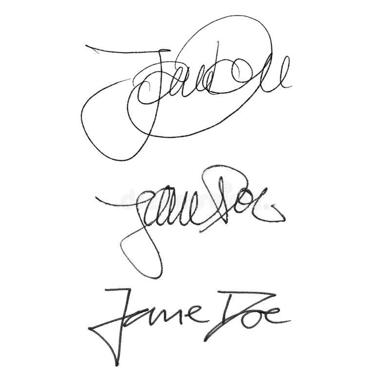 Kalligrafihäfte Jane Doe, handskriven uppsättning av olika stilar och pennor royaltyfri illustrationer