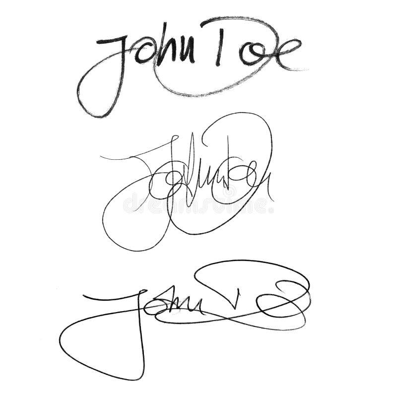 Kalligrafihäfte John Doe, handskriven uppsättning av olika stilar och pennor vektor illustrationer