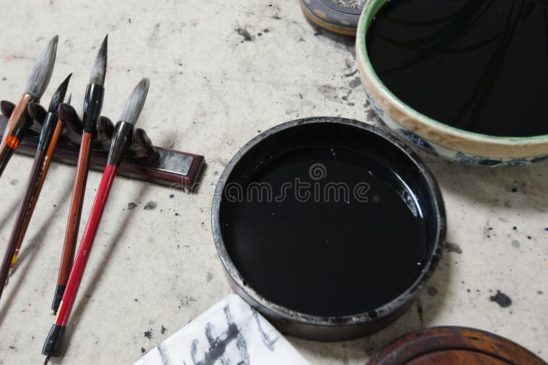 Kalligrafihjälpmedel royaltyfri foto