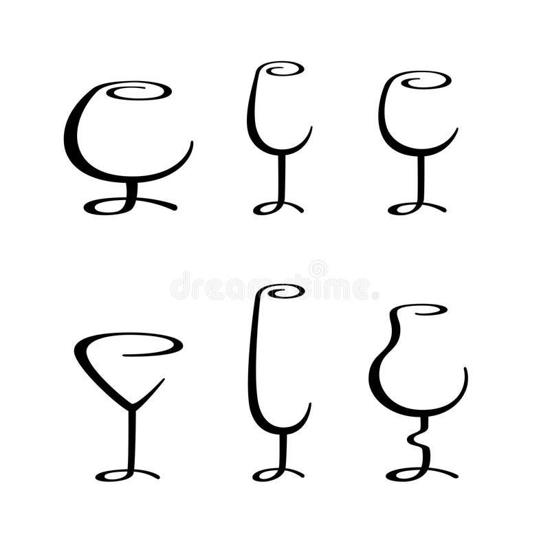 Kalligrafisch alcoholisch glas stock illustratie