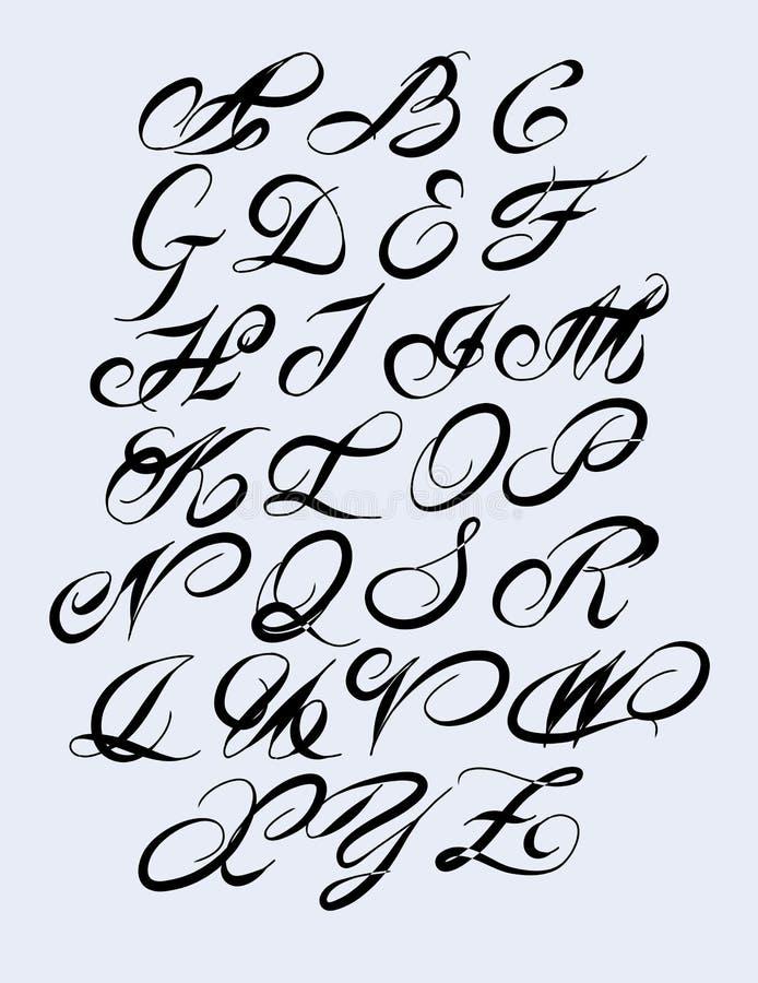 Kalligrafisch alfabet De elementen van het ontwerp stock illustratie