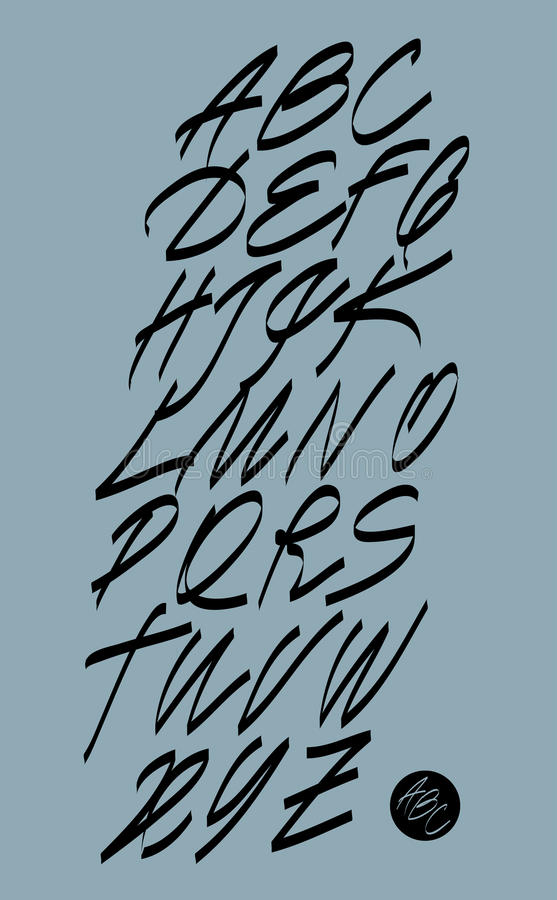 Kalligrafisch alfabet De elementen van het ontwerp vector illustratie