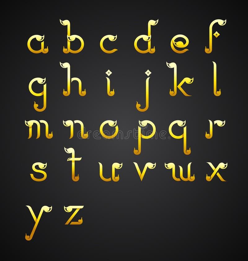 Kalligrafisch alfabetontwerp in Thaise stijl vector illustratie