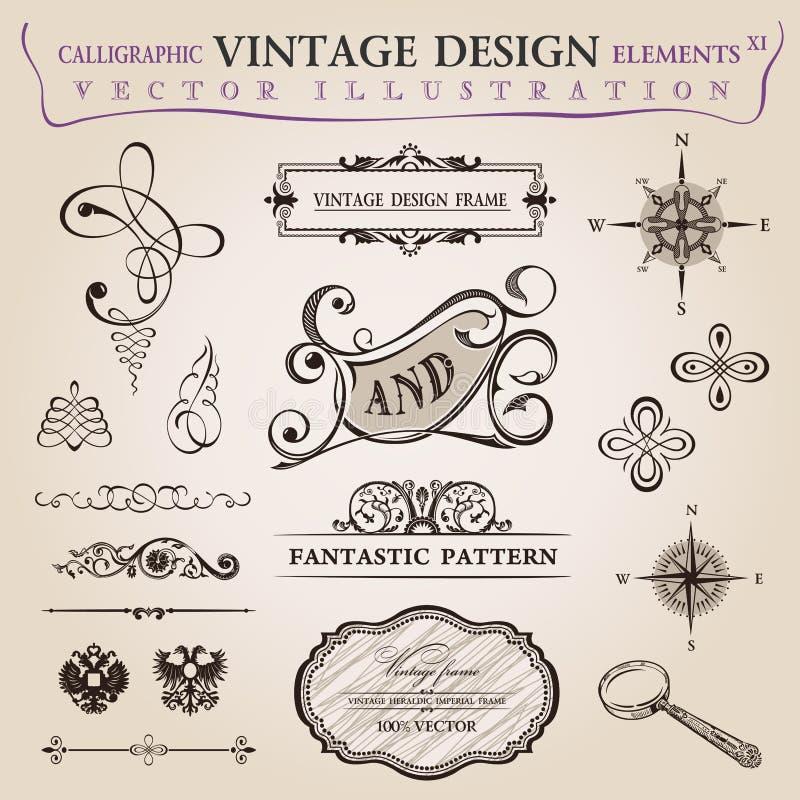 Kalligrafisch elementen uitstekend decor. Vector frame stock afbeeldingen