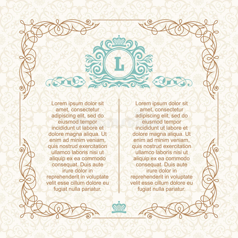 Kalligrafisch grenskader Ontwerpmalplaatje voor de kaart van de huwelijksgroet, uitnodiging, menu vector illustratie