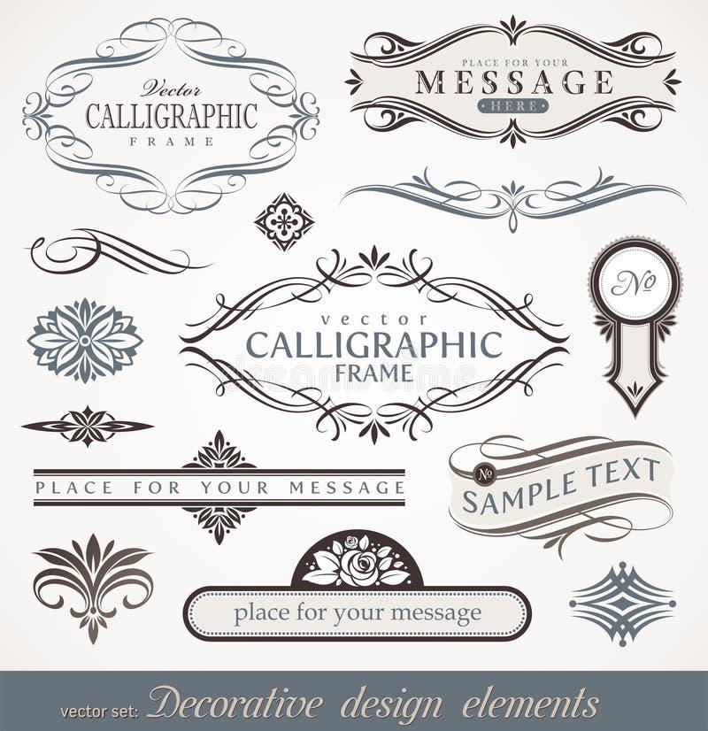 Kalligrafisch ontwerpelementen & paginadecor royalty-vrije illustratie