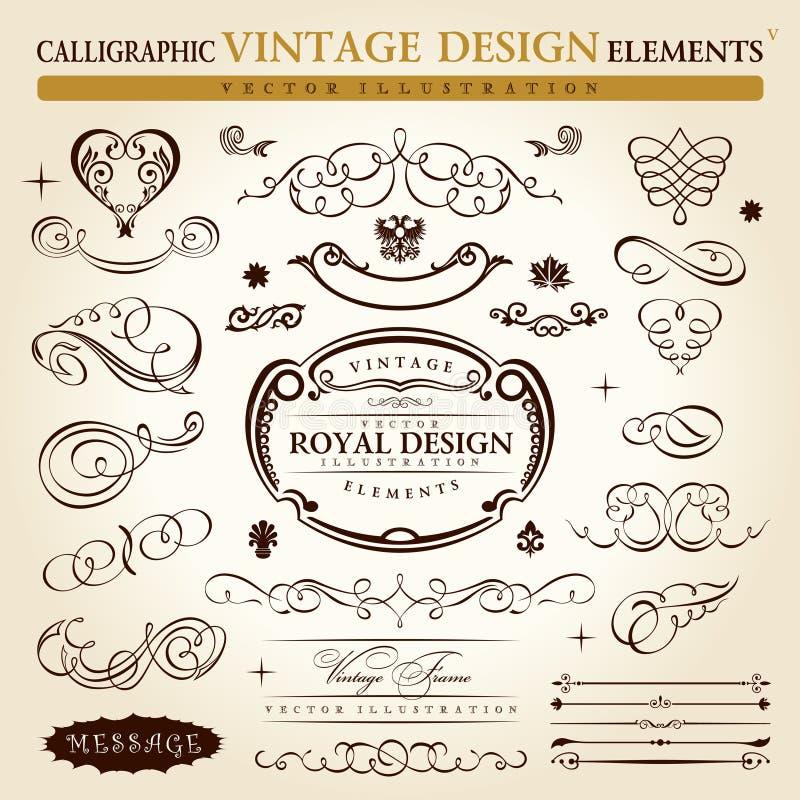 Kalligrafisch uitstekend ornament Vectorframe royalty-vrije illustratie