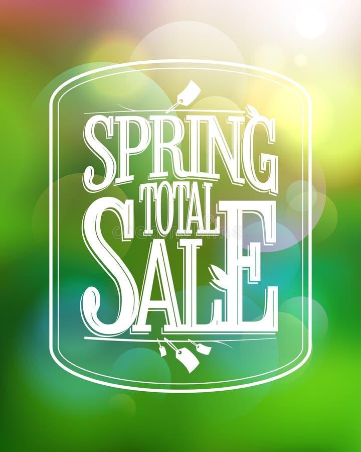 Kalligrafische affiche van de de lente de totale verkoop tegen groene bokeh vector illustratie