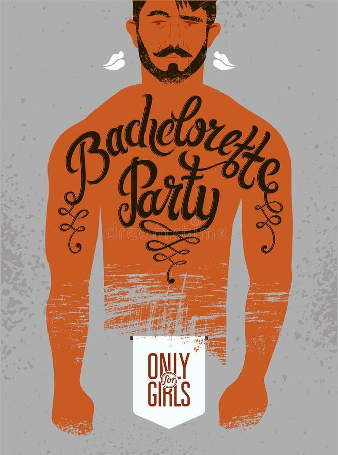 Kalligrafische affiche voor vrijgezellinpartij met een tatoegering op een man lichaam Vector illustratie royalty-vrije illustratie