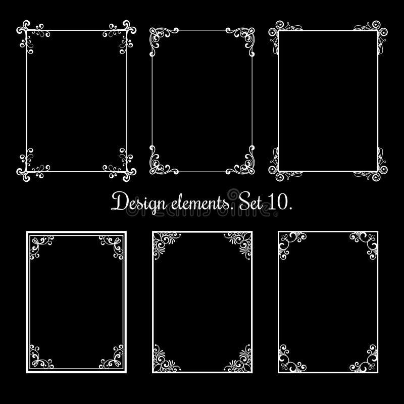 Kalligrafische bloemenkaders De vectorwijnoogst bloeit decoratieve grenzen stock illustratie