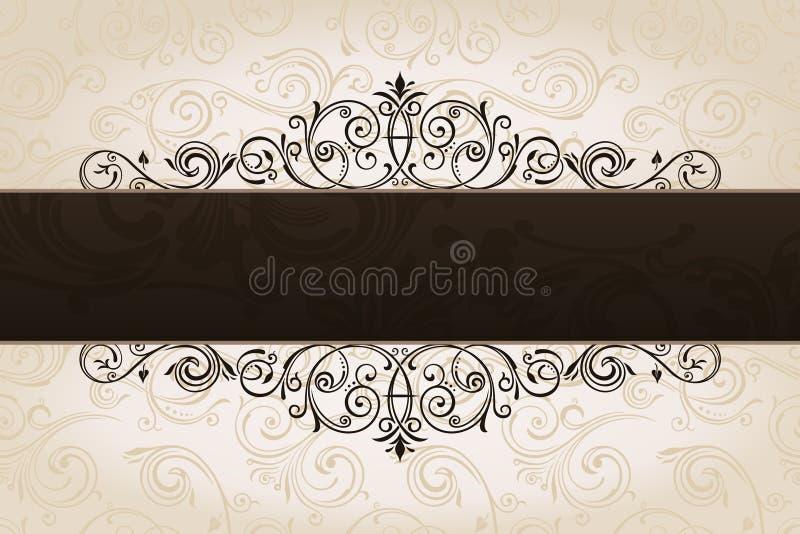 Kalligrafische bruine bannerachtergrond. Wijnoogst stock illustratie