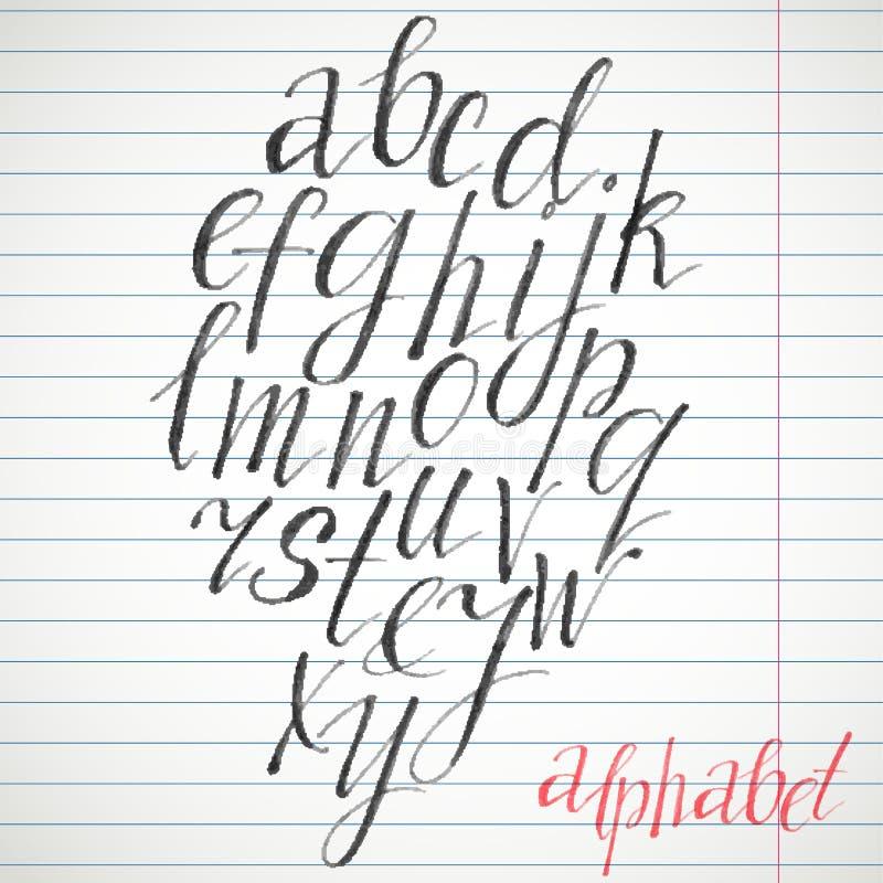Kalligrafische doopvont Met de hand geschreven alfabet in borstelstijl Modern manuscript in vector Met de hand gemaakte dunne bri vector illustratie