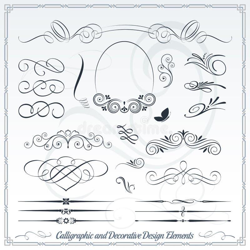 Kalligrafische en Decoratieve Ontwerpelementen stock illustratie