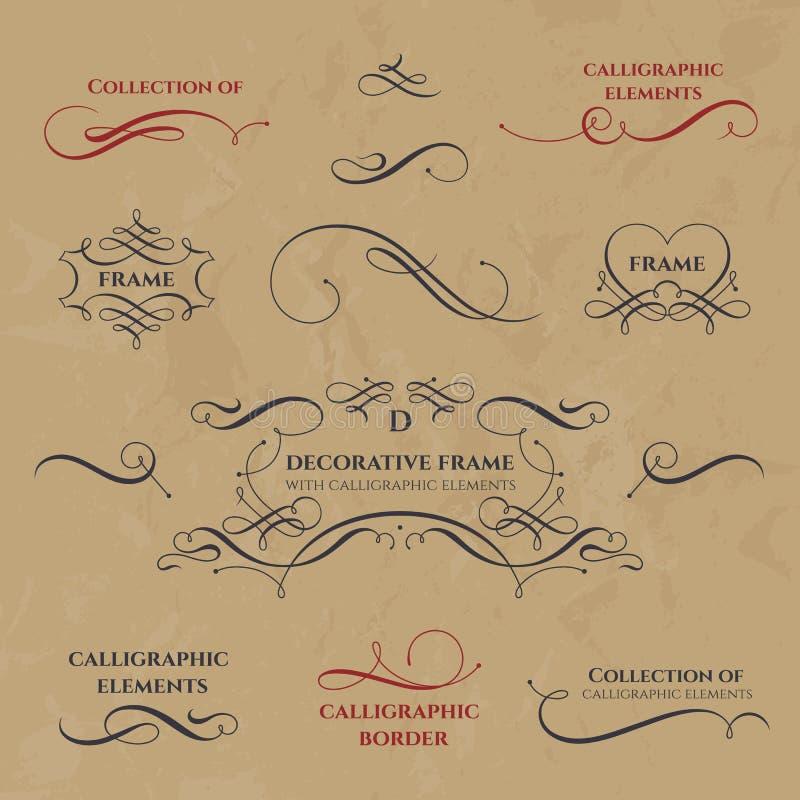 Kalligrafische Frames en grenzen royalty-vrije illustratie