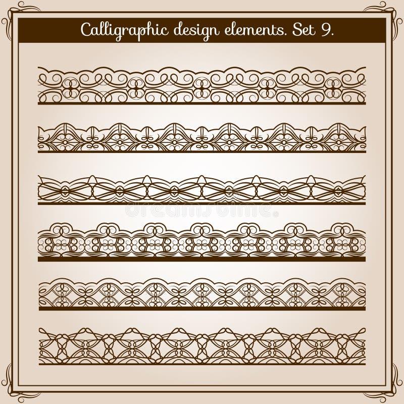 Kalligrafische grensreeks Vector horizontale naadloze kantgrenzen royalty-vrije illustratie