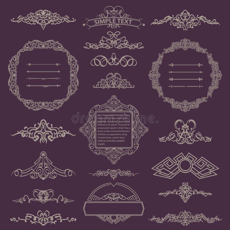 Kalligrafische ontwerp retro elementen voor embleem vector illustratie