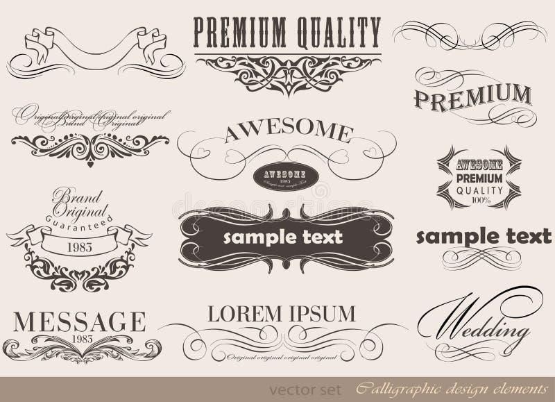 Kalligrafische ontwerpelementen royalty-vrije illustratie
