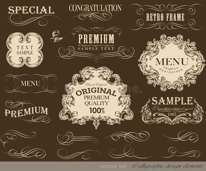 Kalligrafische ontwerpelementen stock illustratie