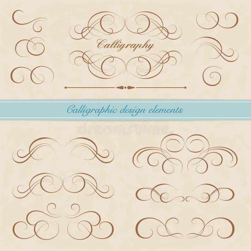 Kalligrafische ontwerpelementen vector illustratie