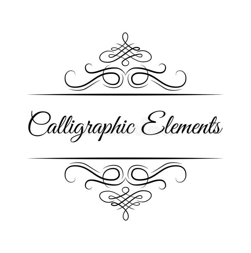Kalligrafische ontwerpelementen De decoratieve wervelingen of de rollen, uitstekende kaders, bloeien Vector vector illustratie