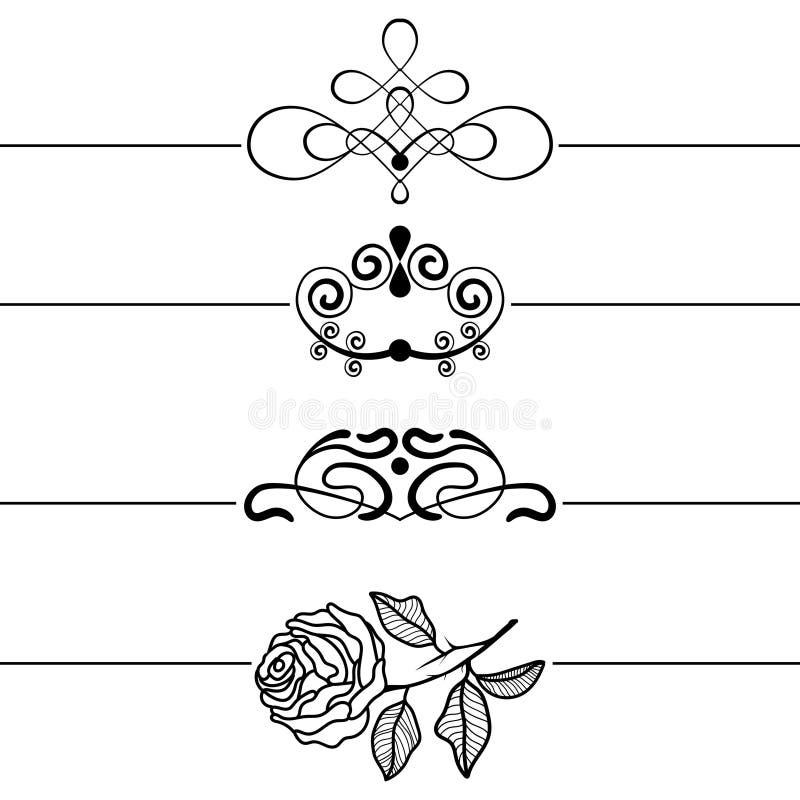 Kalligrafische ontwerpelementen Decoratieve Wervelingen, Rollen en Verdelers Uitstekende vectorillustratie stock afbeeldingen