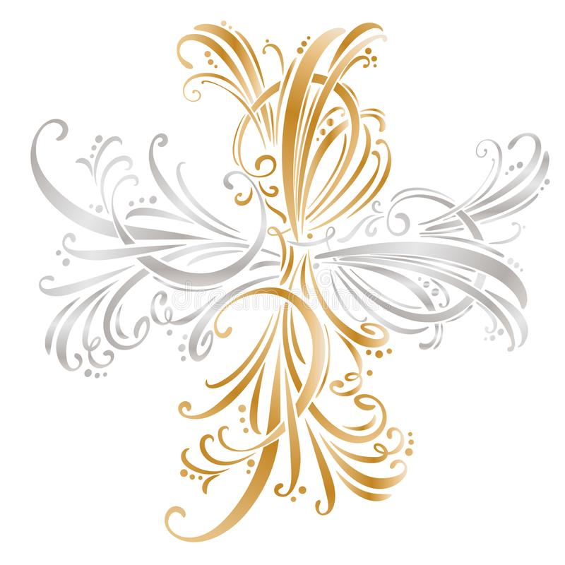 Kalligrafische ontwerpelementen en paginadecoratie Beeldverhaal polair met harten royalty-vrije illustratie