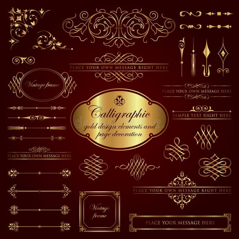 Kalligrafische ontwerpelementen en paginadecoratie in goud vector illustratie