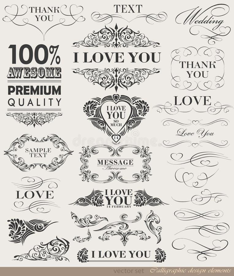 Kalligrafische ontwerpelementen, paginadecoratie stock illustratie