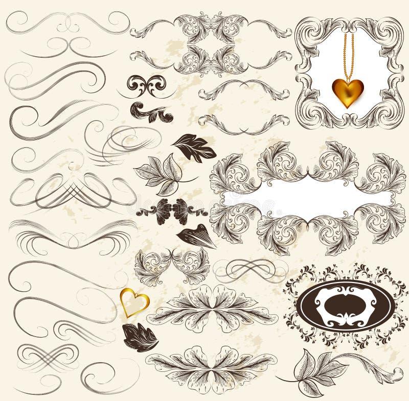 Kalligrafische reeks retro ontwerpelementen en paginadecoratie stock illustratie