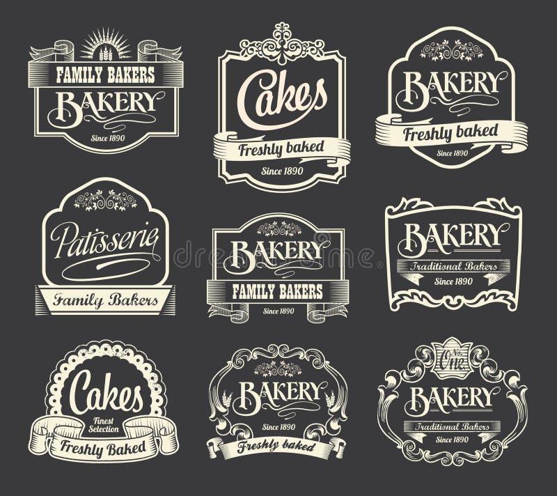 Kalligrafische teken en van het etiketontwerp reeks royalty-vrije illustratie