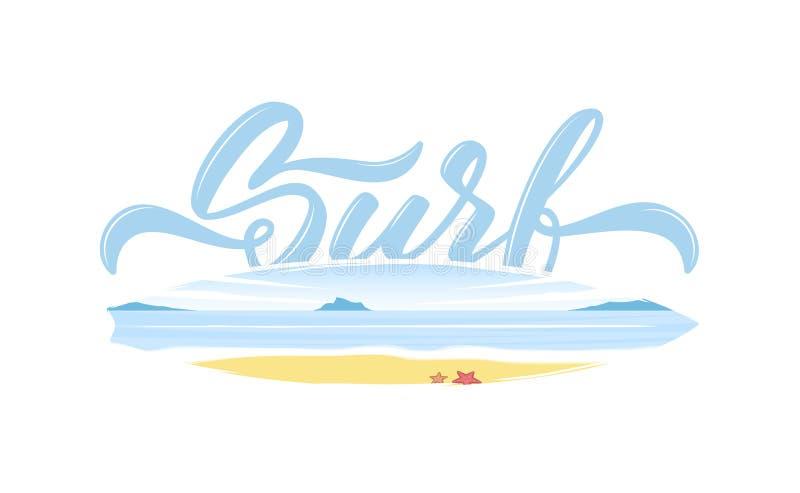 Kalligrafische type het van letters voorzien samenstelling van Branding met dubbele blootstelling van strandlandschap op surfplan vector illustratie