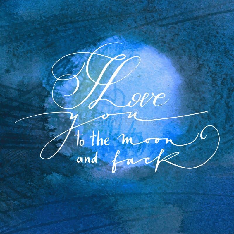 Kalligrafische uitdrukking op waterverf achtergrondmaan. stock illustratie