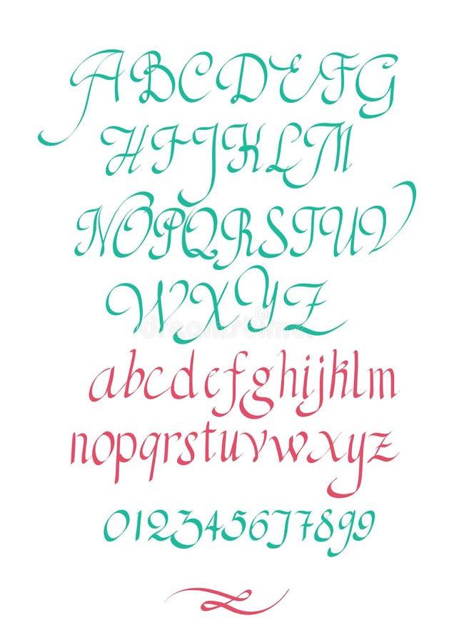 Kalligrafische vectormanuscriptdoopvont Met de hand geschreven moderne borstelstijl stock illustratie