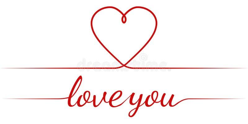 Kalligrafitext älskar jag dig och hjärta, behagfull inskriftförklaring för vektor av förälskelse, valentin för hälsningkort vektor illustrationer