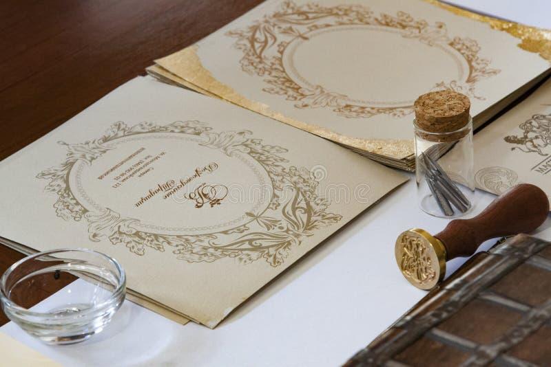 Kalligrafiuppsättning arkivbilder