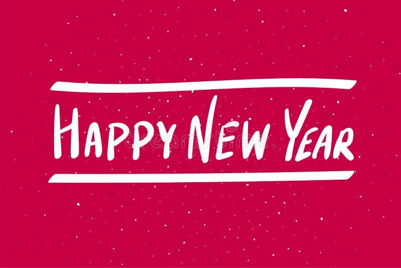 Kalligrafiuttryck för lyckligt nytt år Vit bokstävertext på röd bakgrund vektor illustrationer