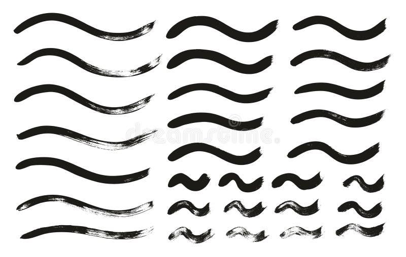 Kalligraphie-Farben-dünne Bürste zeichnet gewelltes hohes Detail, Zusammenfassungs-Vektor-, denhintergrund 121 einstellte stock abbildung